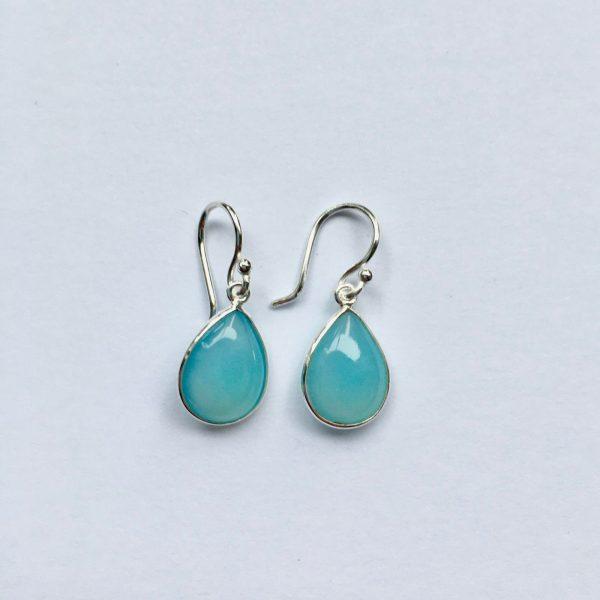 Edelsteen oorbellen Blue Chalcedony ovaal 925 zilver