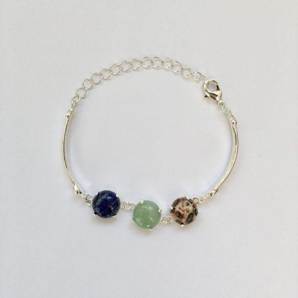 Fijne armband met natuursteen bedels blauw groen multi zilver 2