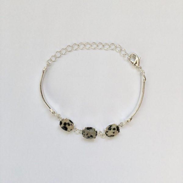 Fijne armband met natuursteen bedels multi zilver 2