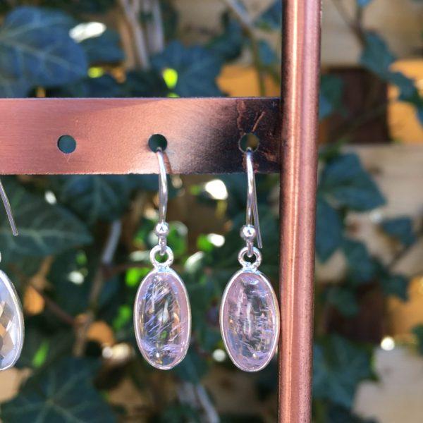 Fijne edelsteen oorbellen rozenkwarts ovaal 925 zilver