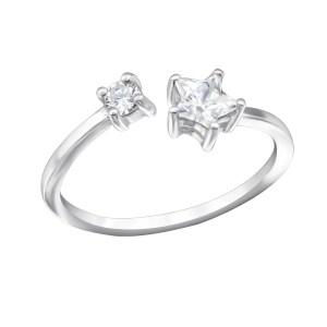 Fijne zilveren ring ster zirkonia maat 7