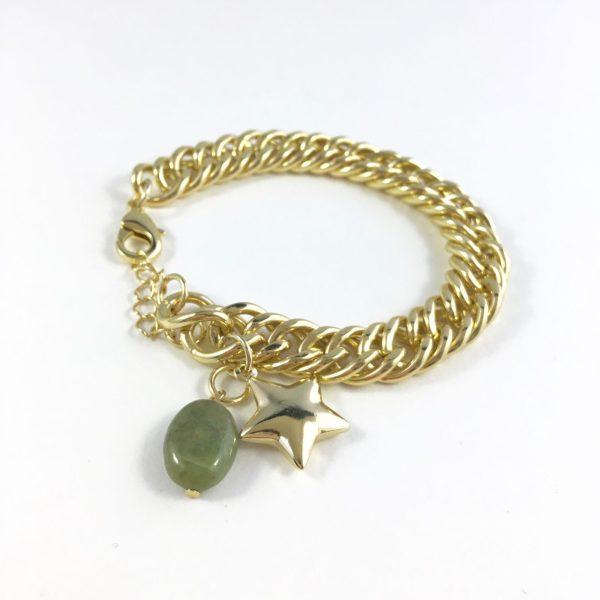 Jasseron schakelarmband jade en ster goud