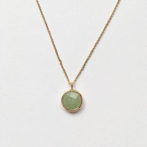 Ketting met hanger natuursteen lente groen goud