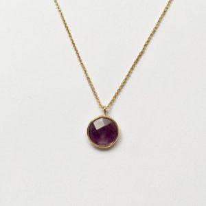Ketting met hanger natuursteen paars goud