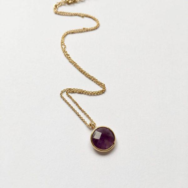 Ketting met hanger natuursteen paars goud edelsteen ketting korte ketting