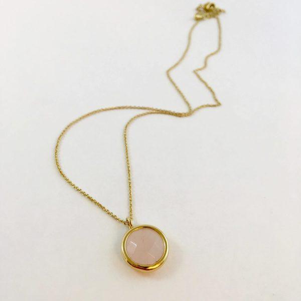 Ketting met hanger rozenkwarts, goud