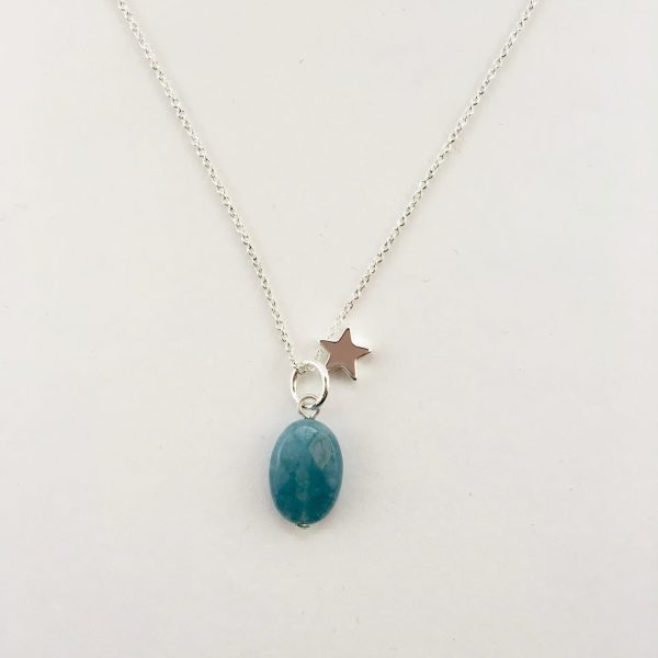 Korte ketting zilver ster blauwe jade ovaal