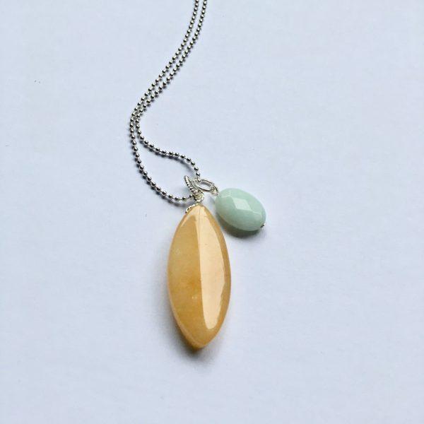 Lange ketting met amazoniet ovaal en gele natuursteen zilver