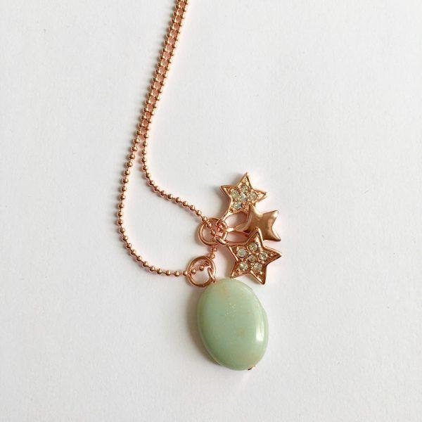 Lange ketting met edelsteen groene jade sterren bedel rose goud