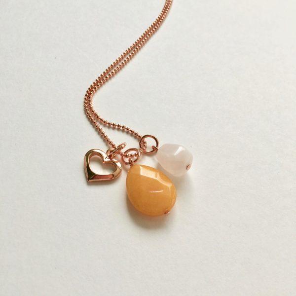 Lange ketting met gele jade rozenkwarts hart rosé goud