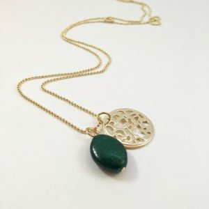 Lange ketting met groene agaat munt goud