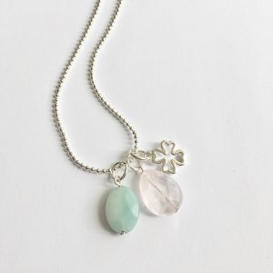 Lange ketting zilver 3 bedels amazoniet rozenkwarts
