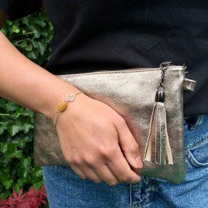 Leren uitgaanstas (brons) kleine tas