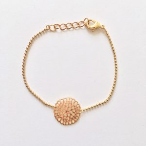 Metalen armband bloem (goud)