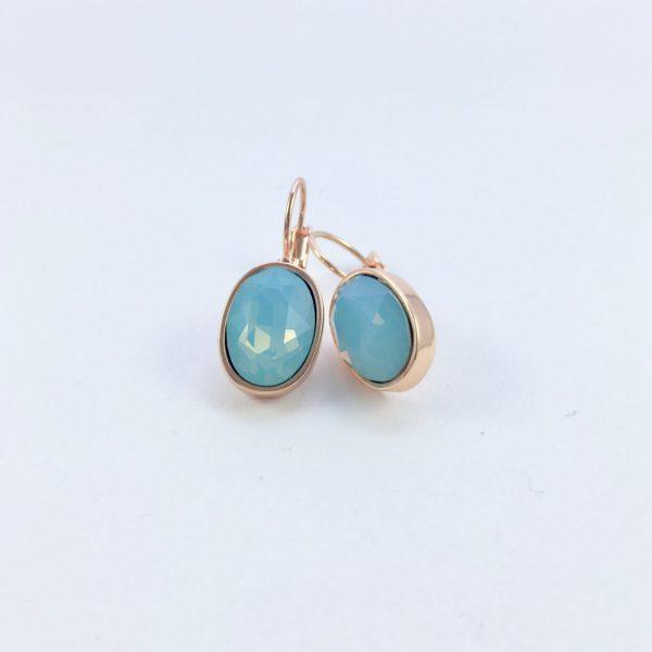 Oorbellen met Swarovski (blauw, rose goud)
