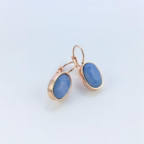 Oorbellen met Swarovski blauw, rose goudkleurig