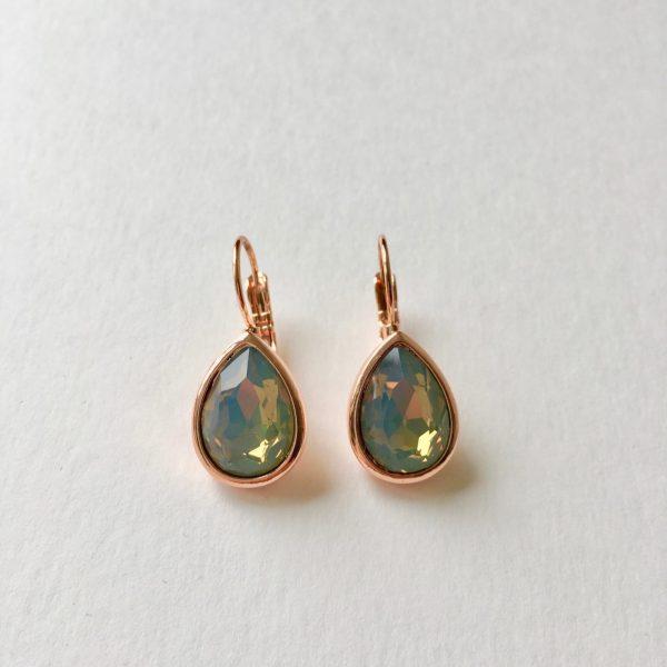 Oorbellen met Swarovski grijs/blauw, rose goud druppel oorbellen