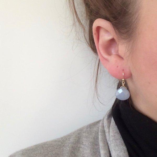 Oorbellen met edelstenen zilver, blauw natuusteen oorbellen kleine oorbellen