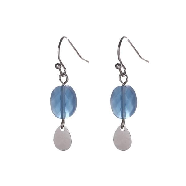 Oorbellen met ovalen bedels zilver petrol blauw