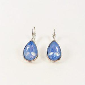 Oorhangers met Swarovski helder blauw zilver