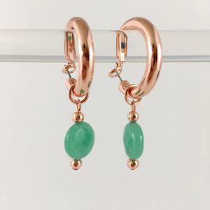 Oorringen met bolletje groene jade (rose goud)