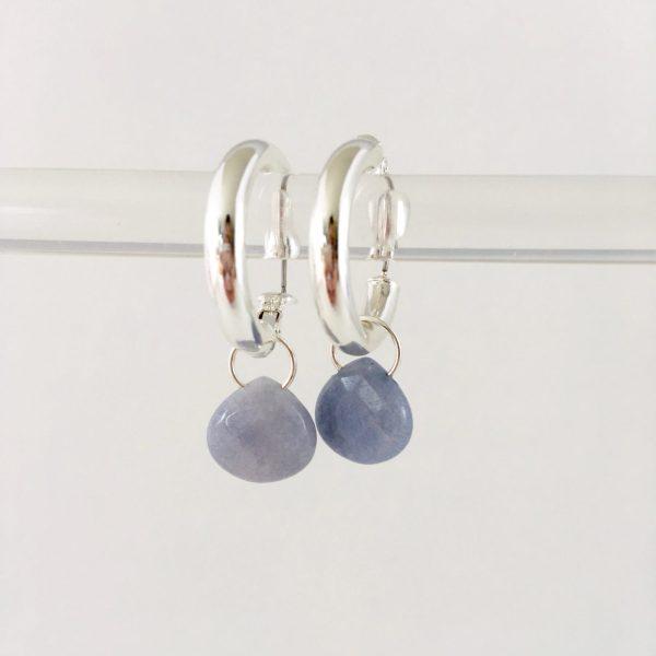 Oorringen met druppel lavendel jade zilver