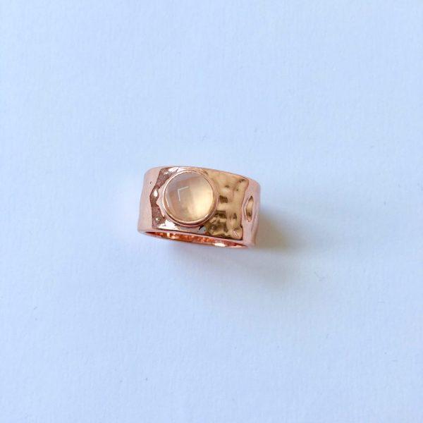 Ring met natuursteen rosé goud statement ring