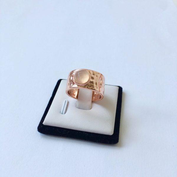Ring met natuursteen rosé goudkleurig