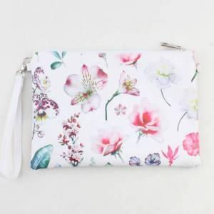 Toilettas fleurige bloemenprint wit