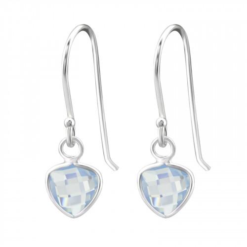 Zilveren driehoek oorbellen met blue opal