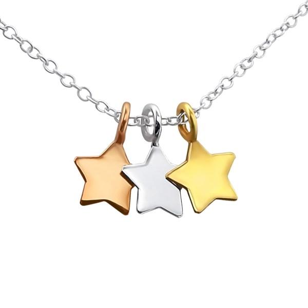 Zilveren kinderketting met sterren