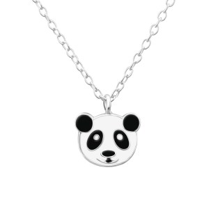 Zilveren kinderketting panda