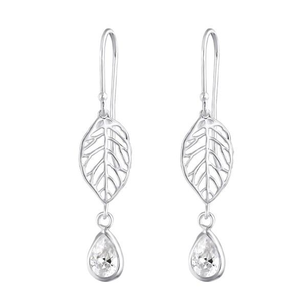 Zilveren oorbellen met blad en zirkonia druppel