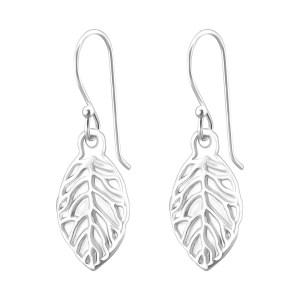 Zilveren oorhangers met blad