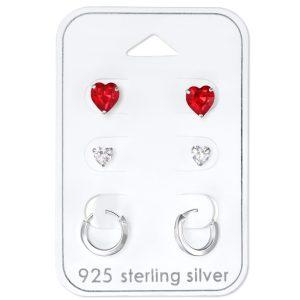 Zilveren oorstekers cadeauset kleine oorbellen