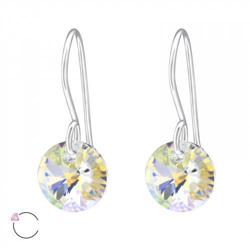 Zilveren ronde oorbellen met Swarovski kristallen