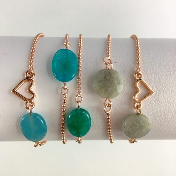 armband met edelsteen jade labradoriet amazoniet