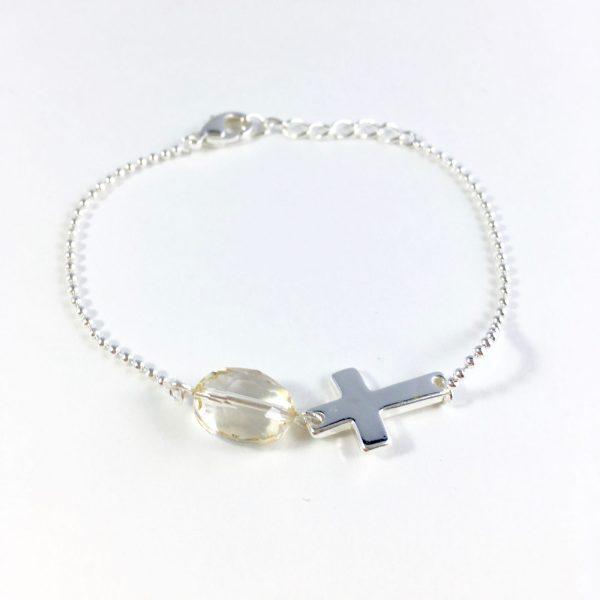 armband met kwarts en kruisje