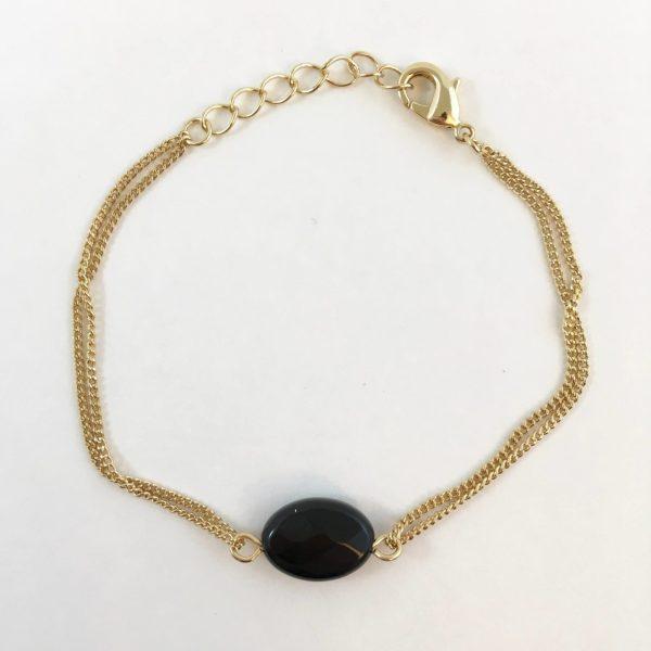 armband met onyx goudkleurig