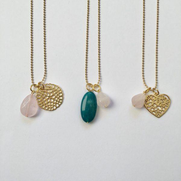 edelsteen kettingen lange kettingen goud rozenkwarts agaat