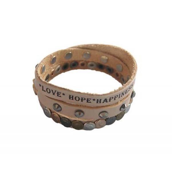 leren armband love hope happiness