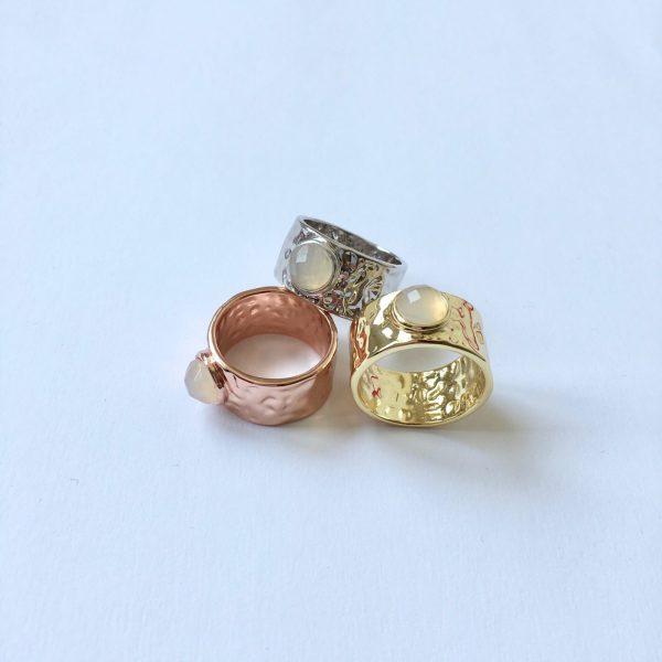 ring met natuusteen zilver goud en rose goud