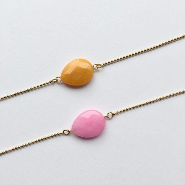 roze jade gele jade armband met edelsteen ball chain