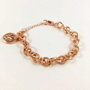 schakelarmband met munt rose goud