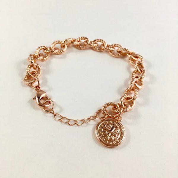 schakelarmband met munt rose goudkleurig