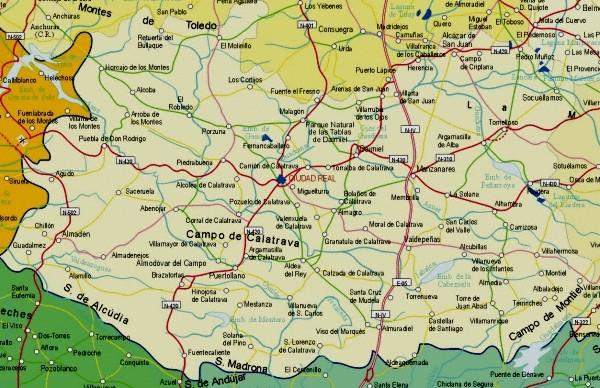 Mapa de carreteras de la Provincia de Ciudad Real