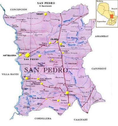 Mapa Departamento de San Pedro, Paraguay