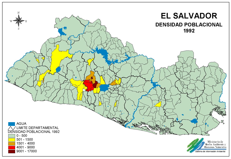 El Salvador Population Density Map