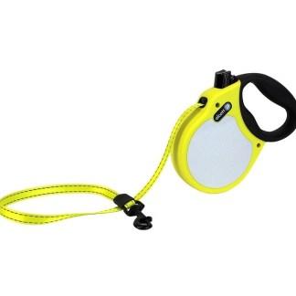 Автоматичен повод ALCOTT NEON S жълт, лента 5 м - до 20 кг