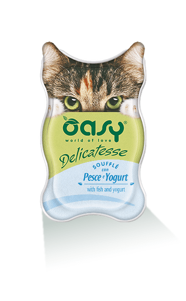 Oasy - Umido Cat Delicatesse - Soufflé con Pesce Yogurt. 85gr